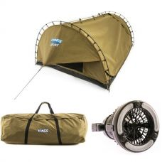 Adventure Kings 'Big Daddy' Deluxe Double Swag + Swag Canvas Bag + 2in1 LED Light & Fan