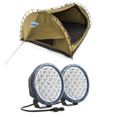 """Adventure Kings Deluxe Double Swag Big Daddy + Domin8r X 9"""" Driving Lights fitted with OSRAM LEDs (Pair)"""