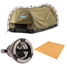 Kings Deluxe Escape Single Swag + Mesh Flooring 3m x 3m + 2in1 LED Light & Fan
