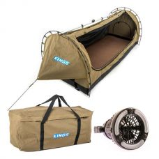 Kings Deluxe Escape Single Swag + Deluxe Single Swag Premium Canvas Bag + 2in1 LED Light & Fan