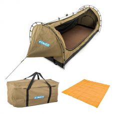 Kings Deluxe Escape Single Swag + Deluxe Single Swag Premium Canvas Bag + Mesh Flooring 3m x 3m