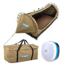 Kings Deluxe Escape Single Swag + Deluxe Single Swag Premium Canvas Bag + Mini Lantern
