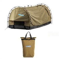 Kings Deluxe Escape Single Swag + Kings Doona/Pillow 400GSM Canvas Bag