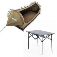 Kings Deluxe Escape Single Swag + Aluminium Roll-Up Camping Table