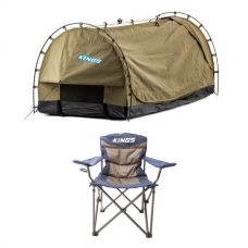Kings Deluxe Escape Single Swag + Adventure Kings Throne Camping Chair