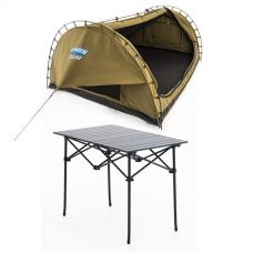 Adventure Kings Double Swag Big Daddy Deluxe + Aluminium Roll-Up Camping Table
