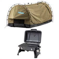 Kings Deluxe Escape Single Swag + Gasmate Voyager Portable BBQ