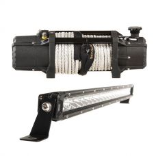 "Domin8r Xtreme 12,000lb Winch + Kings 20"" Slim Line LED Light Bar"