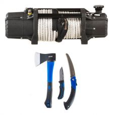 Domin8r Xtreme 12,000lb Winch + Kings Three Piece Axe, Folding Saw and Knife Kit