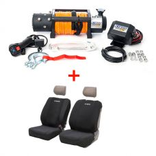 Domin8r X 12,000lb Winch with rope + Adventure Kings Neoprene Front Seat Covers (Pair)