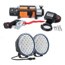 "Domin8r X 12,000lb Winch with rope + Kings Domin8r X 9"" Driving Lights fitted with OSRAM LEDs (Pair)"