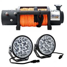 "Domin8r X 12,000lb Winch with rope + Domin8r Xtreme 7"" LED Driving Lights (Pair)"