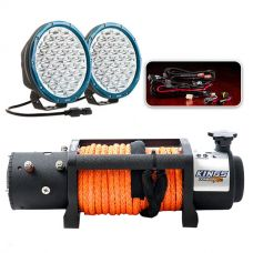 "Domin8r X 12,000lb Winch with rope + Essential 9"" OSRAM LED Domin8rX Driving Light Pack"