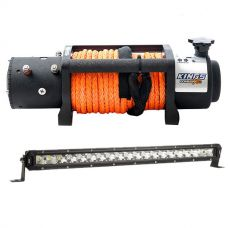 """Domin8r X 12,000lb Winch with rope + Kings 20"""" Slim Line LED Light Bar"""