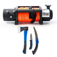 Domin8r X 12,000lb Winch with rope + Kings Three Piece Axe, Folding Saw and Knife Kit