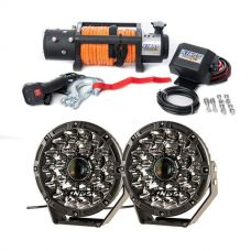"Domin8r X 12,000lb Winch with rope + Adventure Kings 8.5"" Laser Driving Lights"