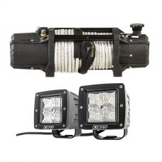 "Domin8r Xtreme 12,000lb Winch + Adventure Kings 3"" LED Work Light - Pair"