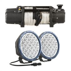 """Domin8r Xtreme 12,000lb Winch + Domin8r X 9"""" Driving Lights fitted with OSRAM LEDs (Pair)"""