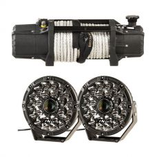 "Domin8r Xtreme 12,000lb Winch + Adventure Kings 8.5"" Laser Driving Lights"