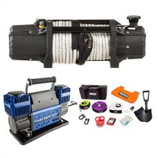 Domin8r Xtreme 12,000lb Winch + Thumper Max Dual Air Compressor MkII + Hercules Complete Recovery Kit