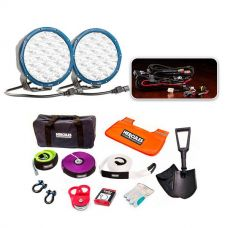 """Essential 7"""" Domin8r X Driving Light Pack fitted with OSRAM LEDs + Hercules Complete Recovery Kit"""