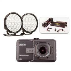 "Essential 9"" Driving Light Pack + Adventure Kings Dash Camera"
