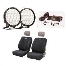 """Essential 9"""" Driving Light Pack + Adventure Kings Neoprene Front Seat Covers"""