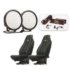 "Essential 9"" Domin8r X Driving Light Pack fitted with OSRAM LEDs + Heavy Duty Seat Covers"