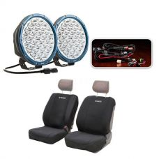"Essential 9"" OSRAM LED Domin8rX Driving Light Pack + Adventure Kings Neoprene Front Seat Covers (Pair)"