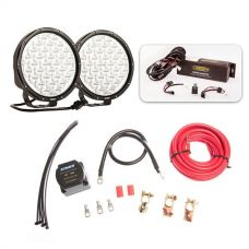 """Essential 9"""" Driving Light Pack + Adventure Kings Dual Battery System"""
