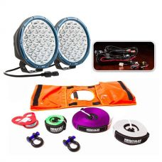 """Essential 9"""" Domin8r X Driving Light Pack fitted with OSRAM LEDs + Essential Nylon Recovery Kit"""