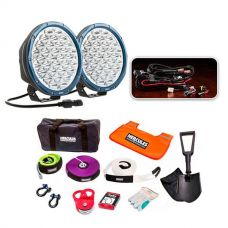 """Essential 9"""" Domin8r X Driving Light Pack fitted with OSRAM LEDs + Hercules Complete Recovery Kit"""