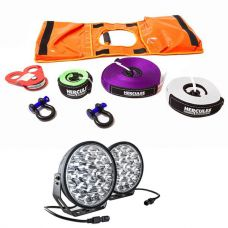 """Kings Domin8r Xtreme 9"""" LED Driving Lights (Pair) + Hercules Essential Recovery Kit"""