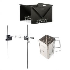 Adventure Kings Portable Steel Fire Pit + Camping Rotisserie + Charcoal Starter