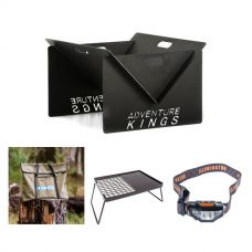 Kings Portable Steel Fire Pit  + Essential BBQ Plate + Portable Fire Pit Bag + LED Head Torch