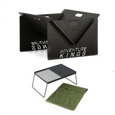 Kings Portable Steel Fire Pit + Camp Fire BBQ Plate