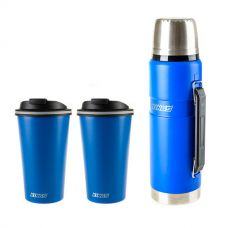 Adventure Kings 1.2L Vacuum Flask + 2x 410ml Travel Mug