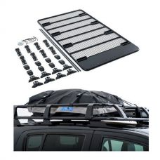 Steel Flat Rack For Gutter Mount Vehicles + Half-Length Premium Waterproof Rooftop Bag