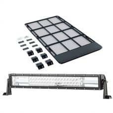"Kings Steel Flat Roof Rack + Domin8r 22"" LED Light Bar"