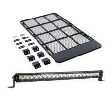 "Kings Steel Flat Roof Rack + Kings 20"" Slim Line LED Light Bar"