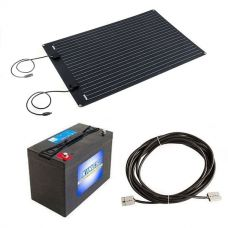 Adventure Kings 110W Semi-Flexible Solar Panel + 10m Lead For Solar Panel Extension + AGM Deep Cycle Battery 115AH