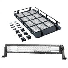 "Full Length Steel Roof Racks + Domin8r 22"" LED Light Bar"