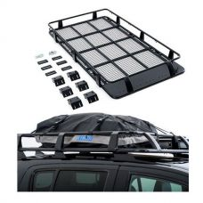 Full Length Steel Roof Racks + Half-Length Premium Waterproof Rooftop Bag