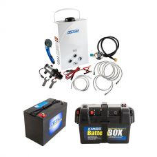 Kings Portable Gas Hot Water System + Adventure Kings AGM Deep Cycle Battery 115AH + Battery Box