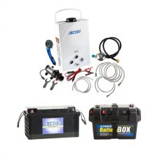 Kings Portable Gas Hot Water System + 138Ah AGM Deep-Cycle Battery + Adventure Kings Maxi Battery Box