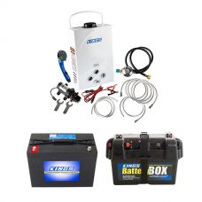 Kings Portable Gas Hot Water System + Kings 98Ah AGM Deep Cycle Battery + Adventure Kings Battery Box