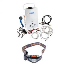 Kings Portable Gas Hot Water System + Illuminator LED Head Torch