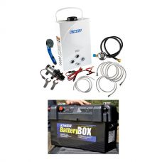 Kings Portable Gas Hot Water System + Adventure Kings Maxi Battery Box
