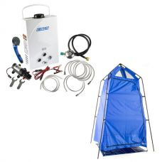 Kings Portable Gas Hot Water System + Kings Camping Shower Tent