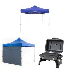 Gasmate Voyager Portable BBQ + Adventure Kings - Gazebo 3m x 3m + Gazebo Side Wall